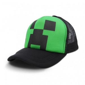 Черная Бейсболка (кепка) с Крипером из Майнкрафта