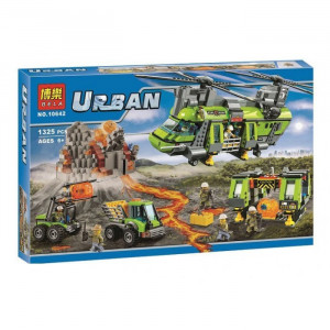 Конструктор Lari (Бела) My world (Lari) Urban 10642 Грузовой вертолет исследователей вулканов