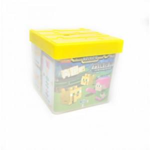 """Набор фигурок-ластиков с копилкой (желтая) """"Алекс и оцелот"""" Майнкрафт"""