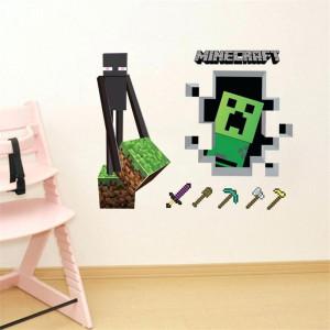 "Наклейка-постер на стену ""Эндермэн и Крипер"" Майнкрафт"