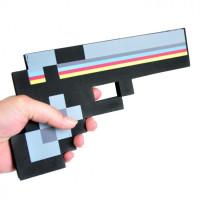 Черный пиксельный пистолет Майнкрафт