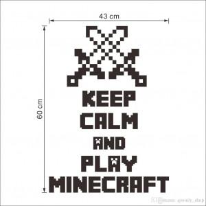 "Наклейка-постер на стену ""Keep calm and play MINECRAFT"" Майнкрафт"