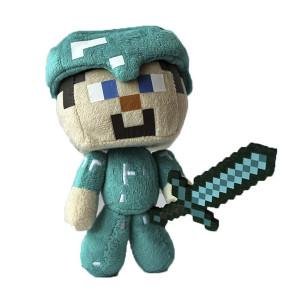 Мягкая игрушка Майнкрафт Стив в алмазной броне, 17см
