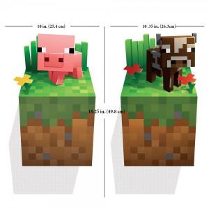 "Наклейка-постер на стену ""Свинка и корова"" Майнкрафт"
