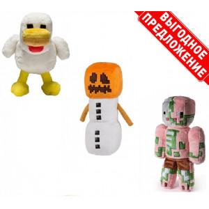Набор из 3 мягких игрушек Майнкрафт Курица + Снежный голем + Свинозомби