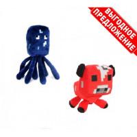 Набор из 2 мягких игрушек Майнкрафт Осьминог Спрут + Грибная корова