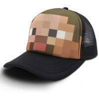 Черная Бейсболка (кепка) с лицом стива из Майнкрафта