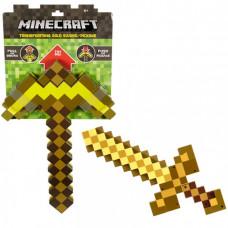 Золотая кирка-меч трансформер Майнкрафт